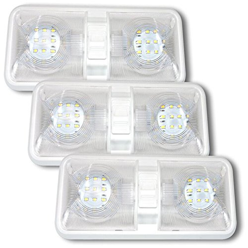 Leisure LED 3 Pack RV LED Ceiling Double Dome Light Fixture with ON/Off Switch Interior Lighting for Car/RV/Trailer/Camper/Boat DC 12V Natural White 4000-4500K 48X2835SMD