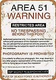 PaBoe 12 x 16 Metal Sign - Area 51 Warning - Vintage Decorative Tin Sign