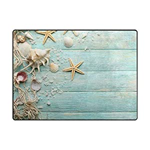 La Random Large Soft Rug 80×58 Inches Sea Stars Shells Non-Skid Lightweight Kids Nursery Yoga Rugs Play Mat for Kids Playing Room Living Room Bedroom Floor Mats