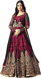 Fast Fashions Women's Taffeta Silk Semi Stitched Anarkali Gown (Free Size)