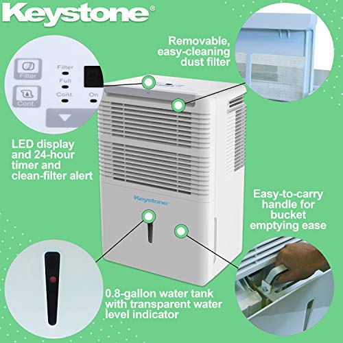 Keystone 35 Pint Dehumidifier with Electronic Controls, 50, White