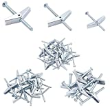HELIFOUNER 24 Pieces Toggle Bolt and Wing Nut for Hanging Heavy Items on Drywall - 1/8 Inch, 3/16Inch, 1/4Inch