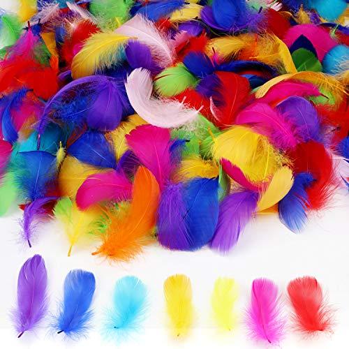 """MWOOT 450 Piezas Plumas Manualidades De Colores Plumas de la decoración para Las Decoraciones caseras del Partido de la Boda del Arte de DIY, Plumas de Ganso (2,3""""-5,1"""")"""