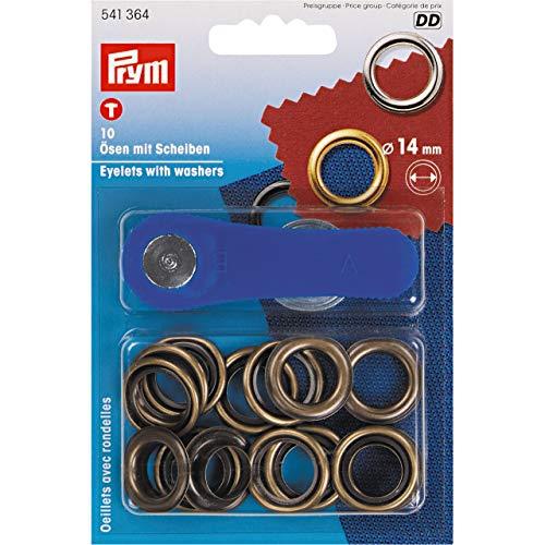 Prym - Asole e guarnizioni, 10 Pezzi, Materiale: Metallo, Colore: Ottone Anticato, Diametro: 14 mm