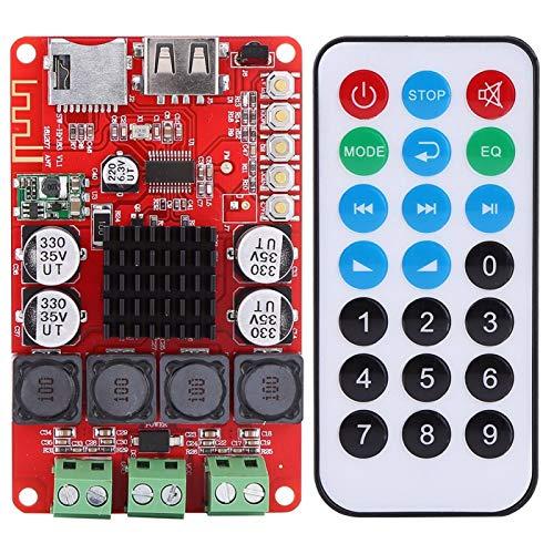 KUIDAMOS Placa amplificadora Bluetooth 50W + 50W TPA3116, DC 8-26V Amplificador Receptor de Audio Bluetooth portátil Decodificador de Tarjeta TF con Control Remoto