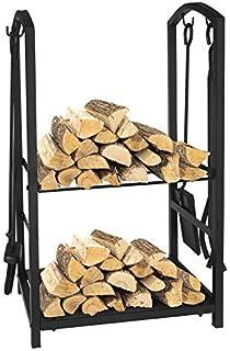 ART TO REAL Firewood Log Rack Fireplace Tool Sets Black Wrought Iron Firewood Storage Holder Fireplace Wood Carrier Firesi...