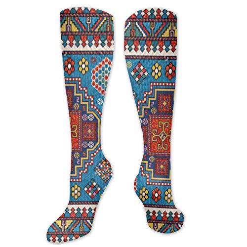 Kniestrümpfe für Damen, Oberschenkelhoch, lang, bunt, Mosaik, orientalisch, Kazak Strümpfe