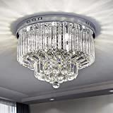 Saint Mossi Chandelier Modern K9 Crystal Raindrop Chandelier Lighting Flush Mount LED Ceiling Light Fixture Pendant Lamp for Dining Room Bathroom Bedroom Livingroom 9 G9 Bulbs Required H12