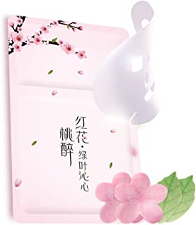 Peach Blossom Leaf Face Mask– 6 Pcs Hyaluronic Acid Mask Sheets for Anti Aging Anti Winkles+ Moisturizing Firming Whitening + Improve Acne Skin
