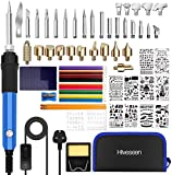 76 PCs Pyrography Kit, Hiveseen Soldering Iron 60W 220V ~ 240V / AC Temperature Adjustable Professional Pyrography Tool for Cork, Leather, Engraving, Welding, Welding, Wood Carving