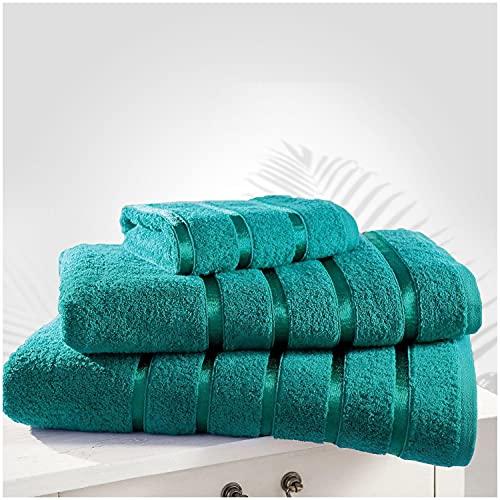 Gaveno Cavailia Juego de 2 Toallas de baño de Lujo, 100% algodón Hilado en Anillo, Resistentes a la decoloración, Extra absorbentes, Egipcio, Verde Azulado, 80 x 170 cm
