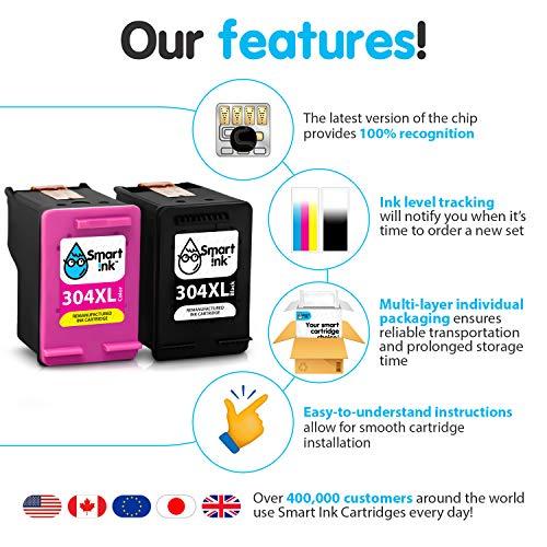 Smart Ink wiederaufbereitete Tintenpatrone als Ersatz für HP 304XL 304 XL 2 Multipack Schwarz & Farbige Patrone hoher Kapazität für DeskJet 2620 2630 2635 3700 3720 3730 Envy 5010 5010 5020 5052 5055