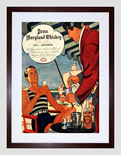 Wee Blue Coo Advert Drink Alcohol Amerikaanse Bourbon Whiskey Rogge USA Omlijst Muur Art Print