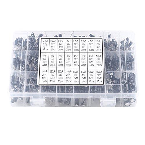 540pcs 24 Tipos Condensadores Electrolíticos de Aluminio Kit de Surtido de Condensador Electrolítico 10V-50V 0.1uF a 1000uF