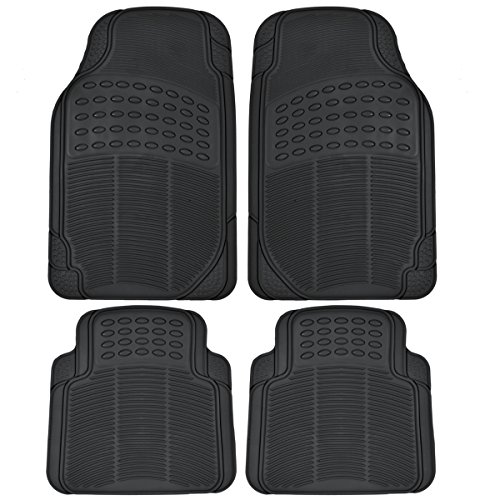 BDK MT654PLUS Black Heavy Duty 4pc Front & Rear Rubber Floor Mats for Car SUV Van & Truck - All Weather Protection Universal Fit