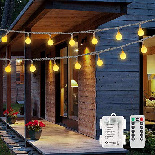 2 Stück 100 LED Lichterkette Außen Batterie,OxyLED Kugel Lichterkette Mit Fernbedienung Timer,8 Modi IP65 Wasserdicht 15m lichterkette Außen Innen für Party,Garten,Weihnachten
