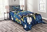 ABAKUHAUS Vertrauen Tagesdecke Set, Comic-Buch-Art-Beschriftung, Set mit Kissenbezügen Moderne Designs, 170 x 220 cm, Erde Yellow Sea Blue