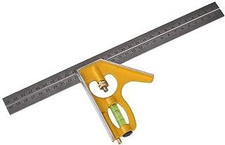 Regla De Acero Inoxidable Multi Función Combinación Ajustable Regla ángulo Activo Herramientas Portátiles De Medición Escuadra Regla ángulo Recto 300 Mm Base Amarillo