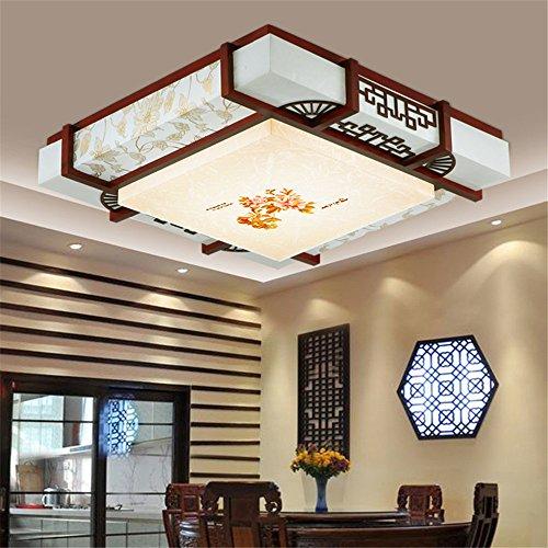BRIGHTLLT Moderne chinesische Holz- LED lange Platz Pergament Wohnzimmer Deckenlampe restaurant Beleuchtung Lampen dimmen Electrodeless Fernbedienung, 600 mm Studie