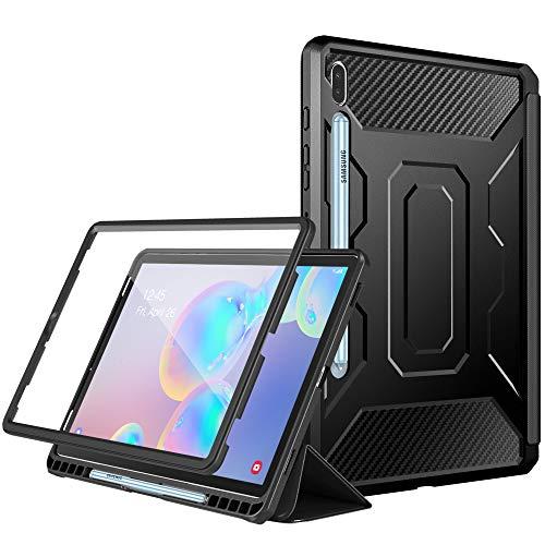 Dadanism Schutzhülle für Galaxy Tab S6 10.5 inch 2019 Tablet, Schutzhülle Case mit Auto Schlaf/Wach Funktion mit integrierter PET-Displayschutzfolie, Stifthalterung - Schwarz