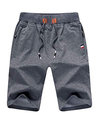 Tansozer Kurze Hose Herren Shorts Sommer Jogginghose Kurz Baumwolle Gym Sweat Shorts Herren Sport (Grau,XL)