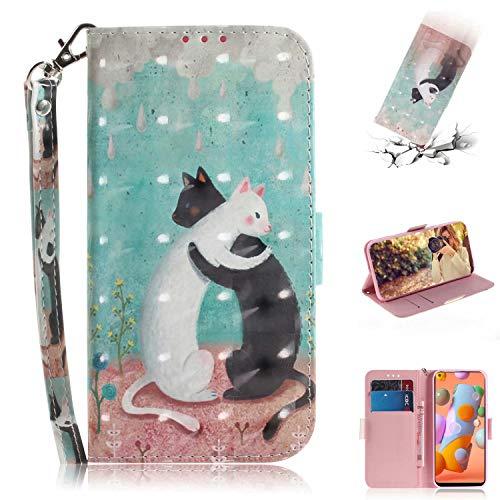 Nadoli für Xiaomi Mi Note 10 Lite Lederhülle,3D Bewirken Magnetverschluss Kartenfach Standfunktion Pu Leder Flip Schlanke Brieftasche Schutzhülle Handyhülle,Schwarz Weiß Katze
