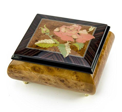 MusicBoxAttic Magnífico Caja Musical Rosa Individual de Sorrento, Italia, más de 400 Opciones de Canciones, Madera, 179. I Love Paris