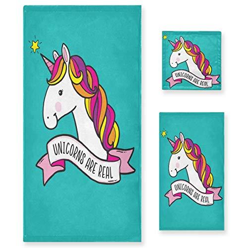 MNSRUU Quirky - Juego de toallas de baño con diseño de unicornio para mujeres y niñas, toallas de baño y toallas absorbentes