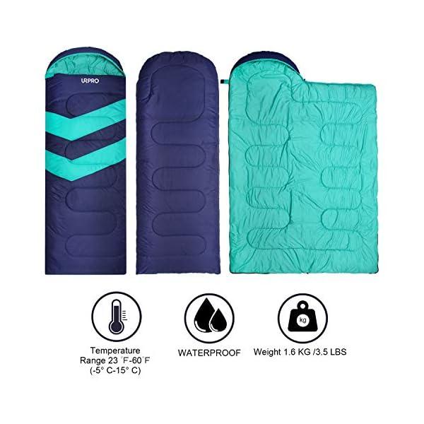URPRO Saco de dormir, sobre desplegado tamaño es de 220 x 75 cm con 3 temporadas funda para saco de dormir invierno… 1