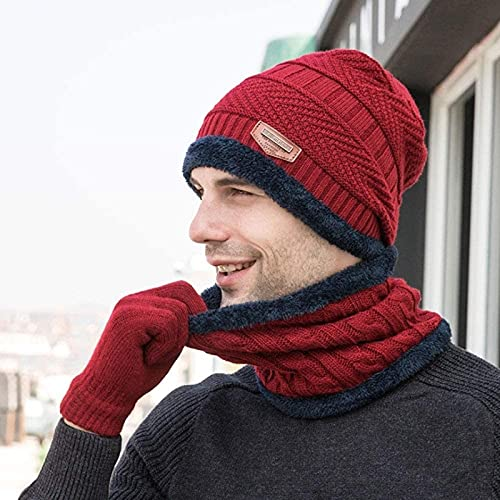 Gwuqbs Sombrero de Invierno Tapa de Lana Gorra de Punto con Sombrero de Punto de Punto Caliente Grueso Grueso más Terciopelo Alineado en Bufanda de Sombrero de Invierno