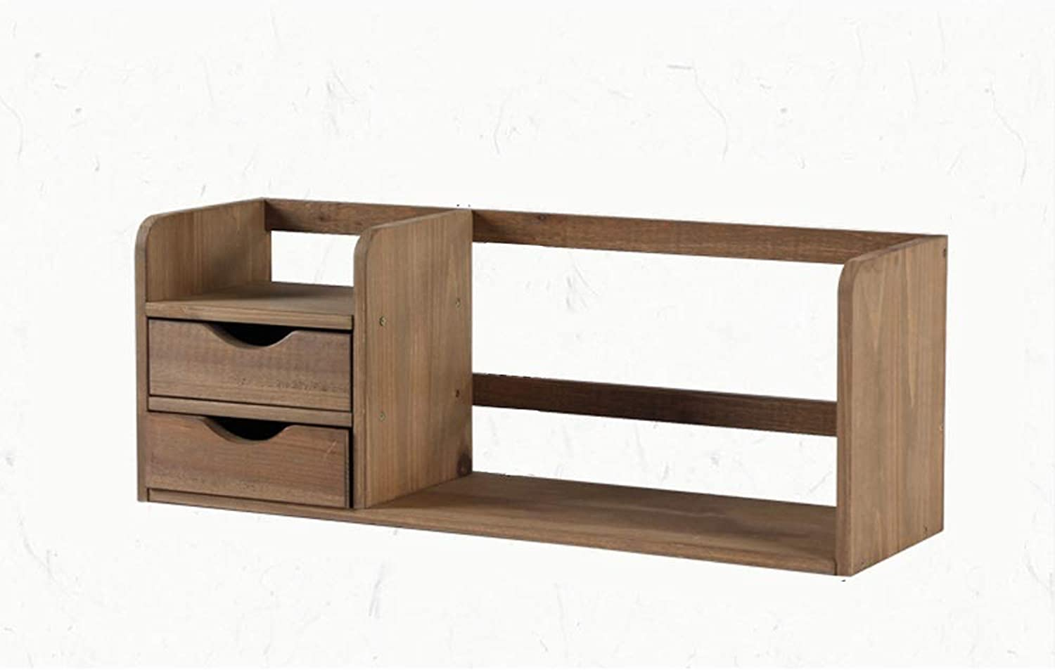 Solid Wood Desktop Simple Storage Single Layer Double Layer Two Size Optional Home Work Small Bookshelf, Brown, Suitable for Office Workers, Student Families, etc. (Design   Double Layer)