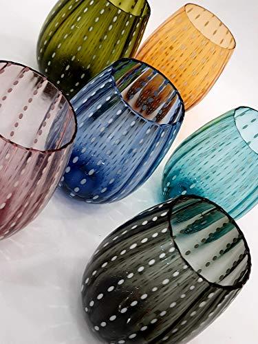 Pagano Home 6 vasos de cristal para agua/wisky, colores surtidos, multicolor, capacidad 470 ml, modelo 6165 (rojo, transparente, lila, verde, naranja celeste)