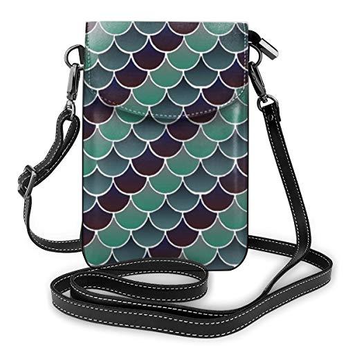 Goxegag Multifunktionale Leder Telefon Geldbörse, Leichte Kleine Schulter Umhängetasche Reisetasche Mit Verstellbarem Gurt Für Frauen-Wasserwaagen