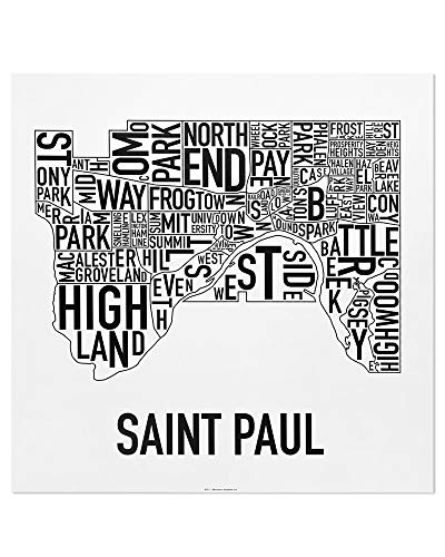 St. Paul Neighborhoods Map Art Poster, Black & White, 20