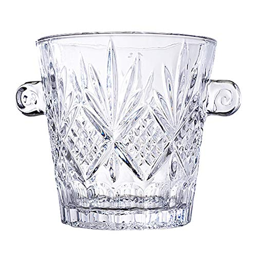 YCSX Portaghiaccio Cubetti Cristallo Elegante Benna di Ghiaccio con Le Maniglie, Wine Cooler Bucket, Vetro Secchio, Safe & Perfetto for la casa Bar Portaghiaccio Secchiello (Color : C)