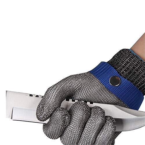 BaronHong Schnittschutzhandschuh Edelstahlgewebe Messer Schutzhandschuh (Silber, XL)