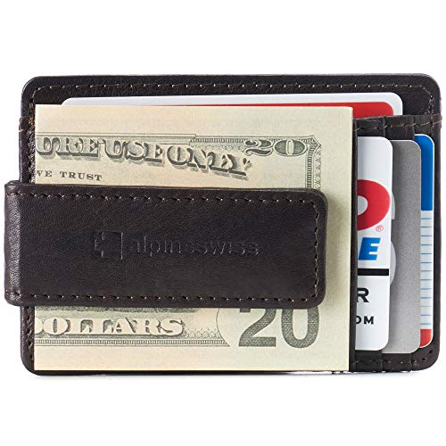 Alpine Swiss Harper Mens RFID Slim Money Clip Front Pocket Wallet Minimalist Leather ID Card Holder Brown