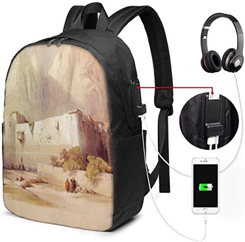 Mochila con interfaz USB David Roberts Egypt Painting Waterproof Laptop Backpack with