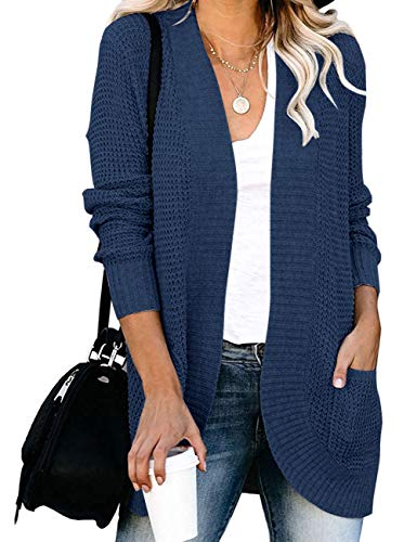 MEROKEETY Womens Long Sleeve Open Front Cardigans Chunky Knit Draped Sweaters Outwear with Pockets Navy S.