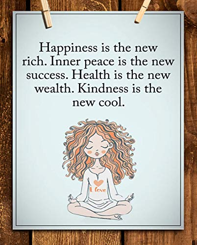 """Happiness is the New Rich""- Inspirational Wall Art in Yoga Pose-8 x 10 Print Wall Print-Ready to Frame. Modern Chic Decor for Home- Office & Studio. Peace, Health & Kindness is the New Cool-Success!"
