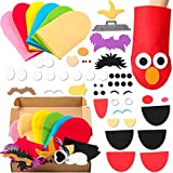 ANGOLIO 6Pcs Sesame Hand Puppet DIY Craft Kits, Felt Colorful Hand Puppet with Movable Mouth for Fun Puppet Show, Elmo DIY Art Crafts, Birthday Party Gift
