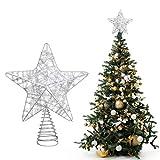 Belle Vous Estrella para Arbol de Navidad 25x20,5 cm Estrella Navidad Alambre Metálico Plateado Brillante 5 Puntos con Base en Espiral - Adornos Navideños - Decoraciones de Navidad Purpurina Brillante