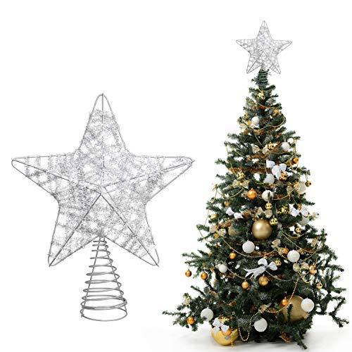 Belle Vous Punta Albero di Natale Argento - Puntale Stella Albero di Natale 25x20,5cm- Tree Topper Stelle per Albero di Natale Puntale 5 Punte Base Spirale- Decorazioni Natalizie Argentate con Glitter