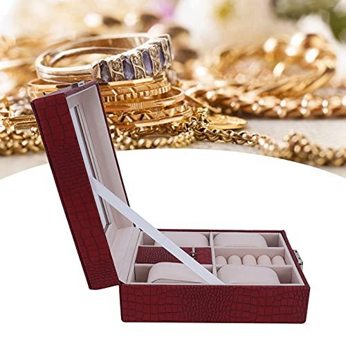 Jopwkuin Estuche de Reloj, Exquisito joyero portátil Magnífico Cuero de PU multifunción para cumpleaños, día de San Valentín, Bodas para exhibición de Joyas de Anillo