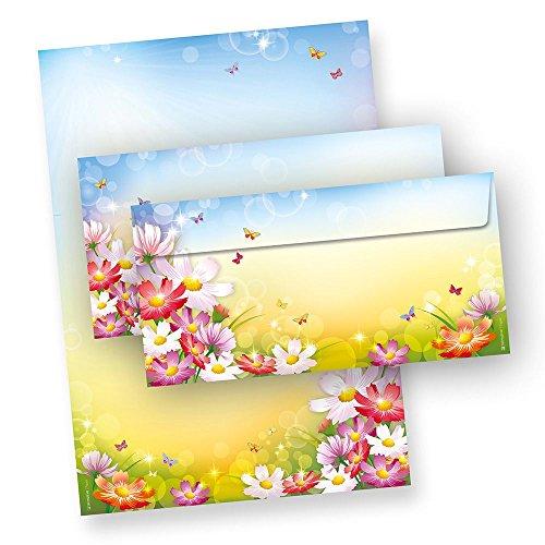 FLORENTINA Briefpapier Set mit Umschläge (25 Sets o.F.) DIN A4 90 g/qm, fröhlich bunt mit Blumen