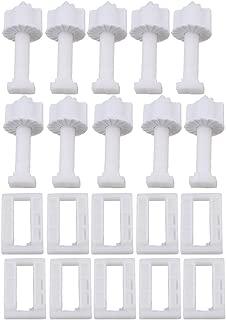 RDEXP White Plastic Rectangular Toilet Seat Cover Hinge Blind Hole Nut Screws Pack of 10
