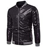 Mens Sequins Nightclub Styles Zip up Varsity Baseball Bomber Jacket Black