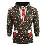 BOLANQ Herren Pullover Sale Pullover Damen, Männer Weihnachten Anzug Muster 3D Print Langarm Hoodie Caps Sweatshirt Pullover(X-Large,Armeegrün)