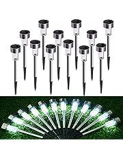 Lámpara solar LED para jardín, de acero inoxidable, 12 unidades, resistente al agua, de bajo consumo, ideal para exteriores, terraza, césped, jardín, patios traseros y caminos