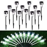 Lámpara solar LED para jardín, lámpara solar de acero inoxidable, 12 unidades, resistente al...